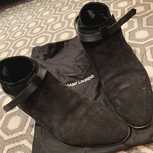 Black Suede Saint Laurent low cut boots